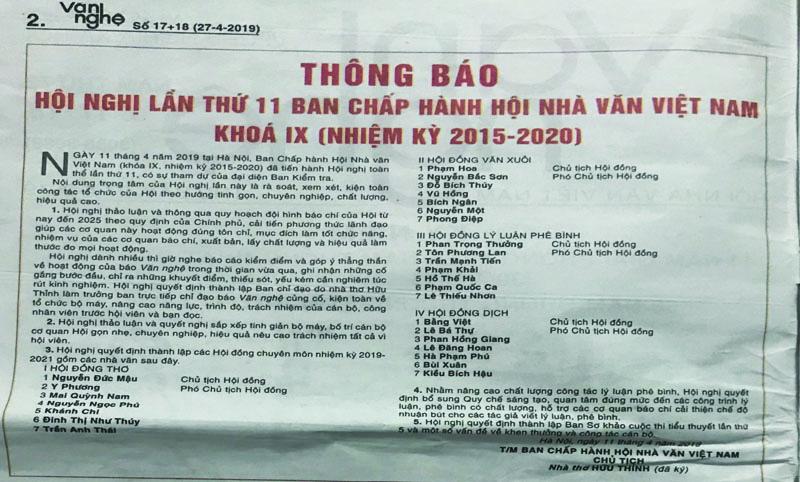Ban Chấp hành Hội Nhà văn Việt Nam (khóa IX, nhiệm kỳ 2015 - 2020
