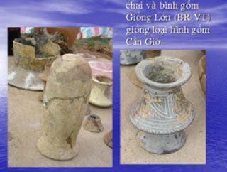 Chai và bình gốm ở di chỉ Giồng Lớn – Bà Rịa Vũng Tàu