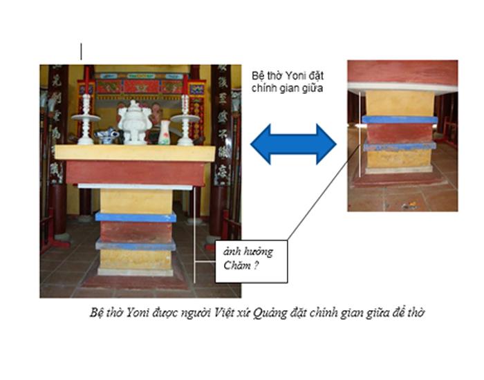 Bệ thờ Yoni được người Việt xứ Quảng đặt chính gian giữa để thờ