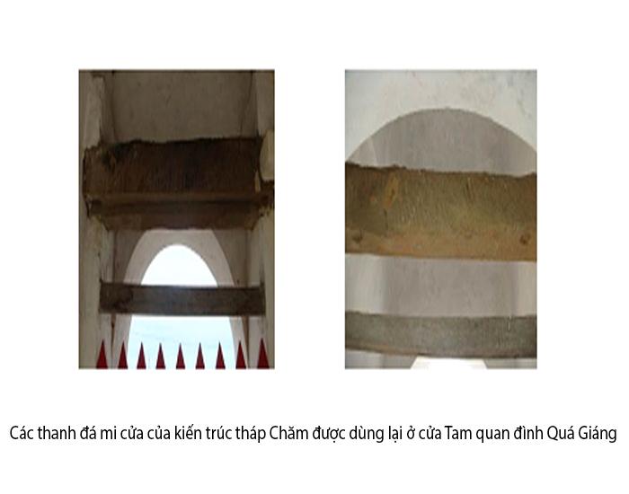 Các thanh đá mi cửa của kiến trúc tháp Chăm được dùng lại ở cửa Tam quan đình Quá Giáng