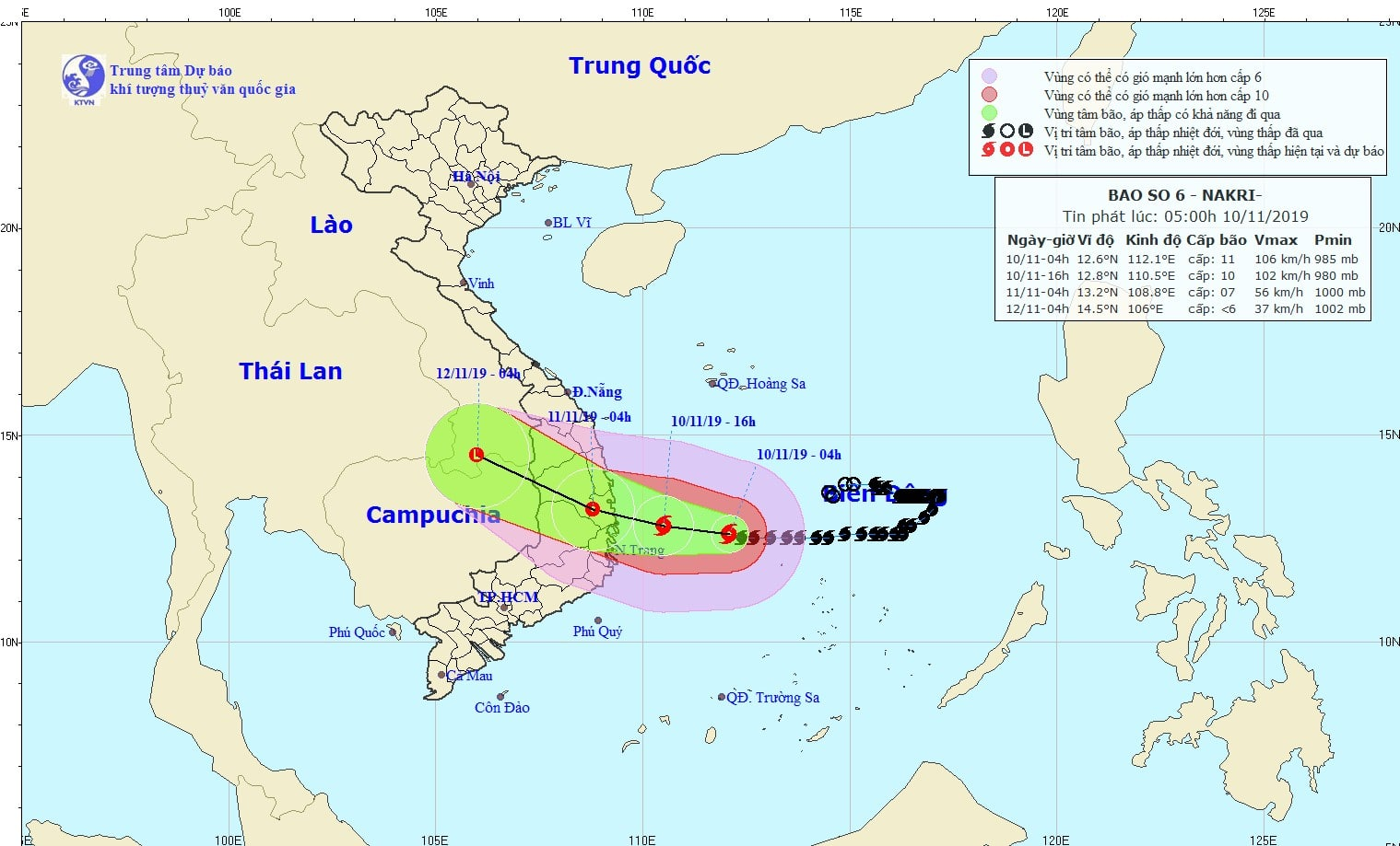 Theo Trung tâm Dự báo khí tượng thủy văn quốc gia vị trí và đường đi của bão số 6