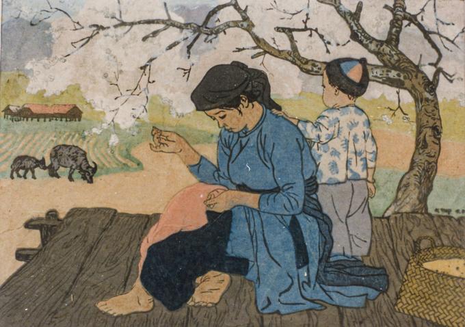 Tranh khắc gỗMùa xuân, được hoạ sĩ Nguyễn Thụ (1930-2018) sáng tác năm 1961. Nguyễn Thụ là một trong những tên tuổi thời kỳ đầu của nền mỹ thuật Việt Nam