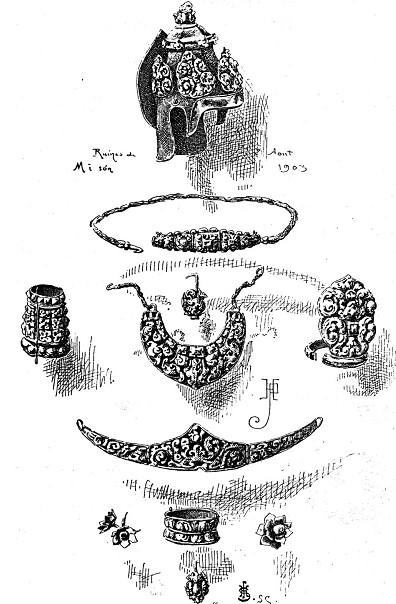 Bản vẽ các món trang sức tìm thấy ở Mĩ Sơn (Parmentier 1903:664).