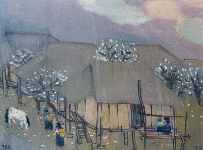 Tranh màu nướcPhong cảnh mùa xuândo hoạ sĩ Trần Lưu Hậu (1928) vẽ năm 1989