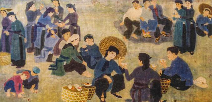 Tranh lụaHội mùa xuâncủa hoạ sĩ Chu Thị Thánh (1948), vẽ năm 1979 lụa. Nữ tác giả người Nùng là một trong những cái tên tiêu biểu của lớp hoạ sĩ dân tộc thiểu số thành danh trong thế kỷ 20, từng được chọn đi thực tập tại Hungary từ 1985 đến 1987. Với sở trường về sơn dầu và lụa, tranh của bà được đánh giá giàu chất thơ, bố cục sinh động và có cách hoà màu riêng biệt.