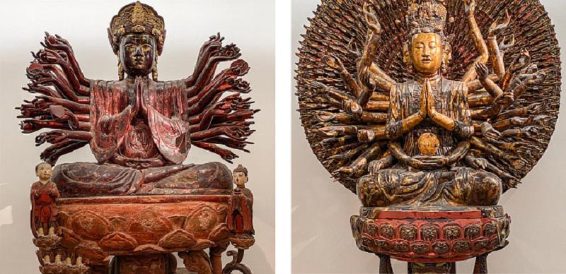 Khác biệt về phần vai của tượng Quan Âm chùa Hội Hạ (Vĩnh Phúc) với tượng Quan Âm chùa Bút Tháp (Bắc Ninh)