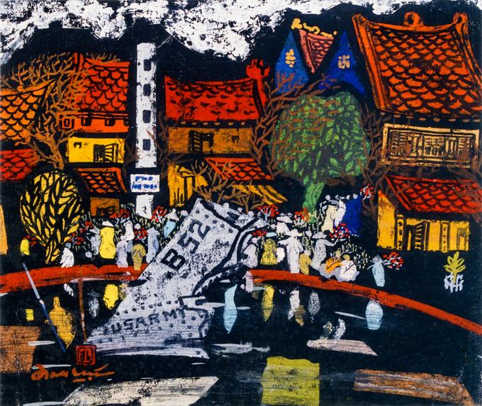 Tranh khắc gỗHà Nội của tôido hoạ sĩ Đinh Lực (1945) vẽ năm 1985, mô tả khung cảnh người dân sắm đào trên bờ hồ Hữu Tiệp, bao quanh là những ngôi nhà cổ đặc trưng của Hà Nội.