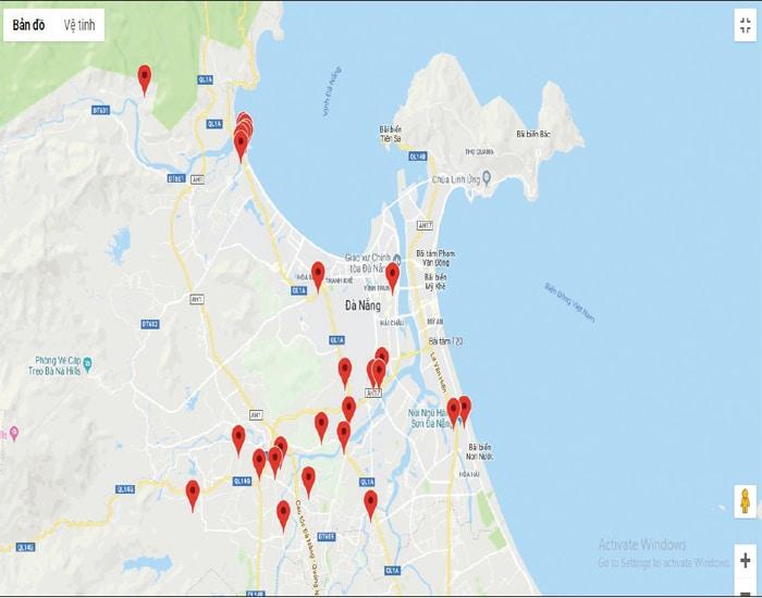 Bản đồ phân bố di tích đền tháp và văn hóa Chàm tại Đà Nẵng.