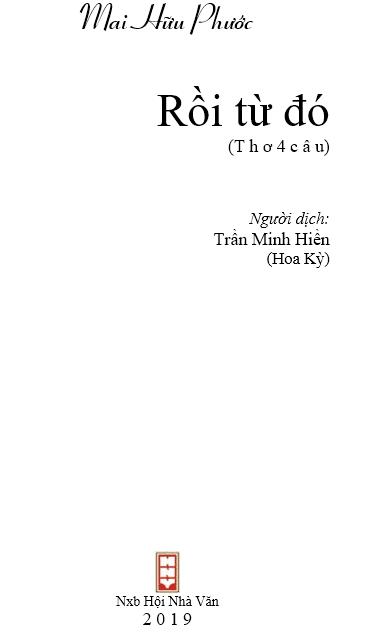 Lời nói đầu Rồi từ đó - tập thơ Mai Hữu phước