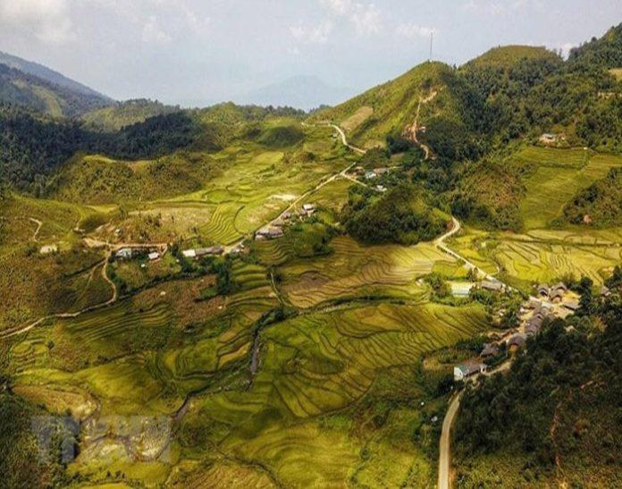 Xã Y Tý nằm ở phía tây của huyện Bát Xát, tỉnh Lào Cai, cách thành phố Lào Cai khoảng 100km, là điểm đến tuyệt đẹp vào mùa lúa chín. (Ảnh: Thành Đạt/TTXVN)