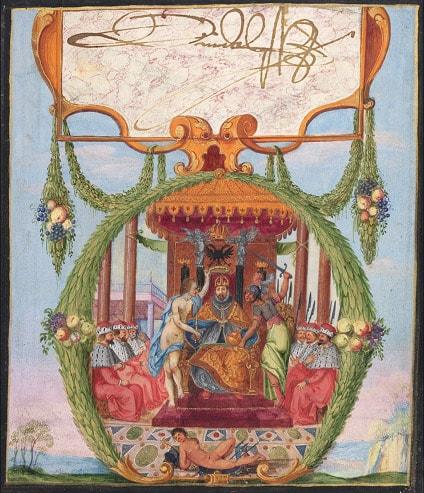 Tranh vẽ bởi Hoàng đế La Mã Rudolf II trong Das Grosse Stammbuch. Ảnh: Thư viện Herzog August.