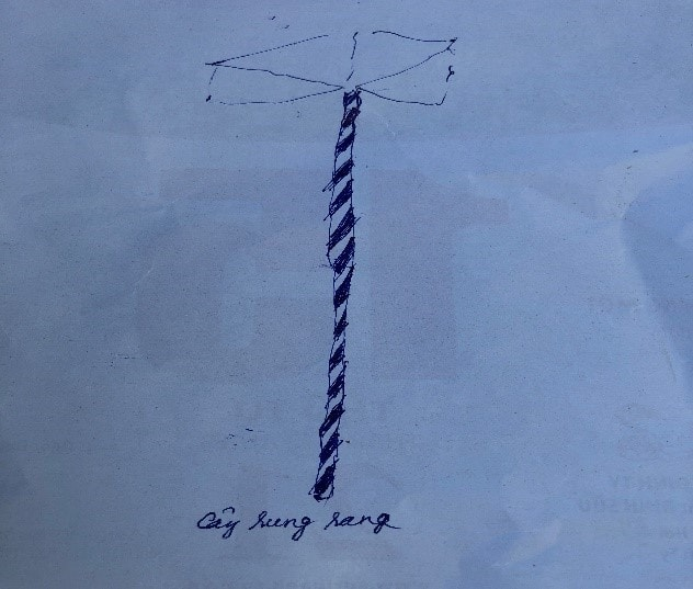 Cây rung rang (vẽ theo hiện vật) tại thôn A Rất, xã Lăng, Tây Giang