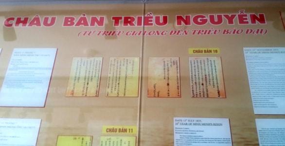 Châu bản triều Nguyễn về quần đảo Hoàng Sa tại Nhà trưng bày Hoàng Sa - Đà Nẵng - Ảnh:MINH TỰ
