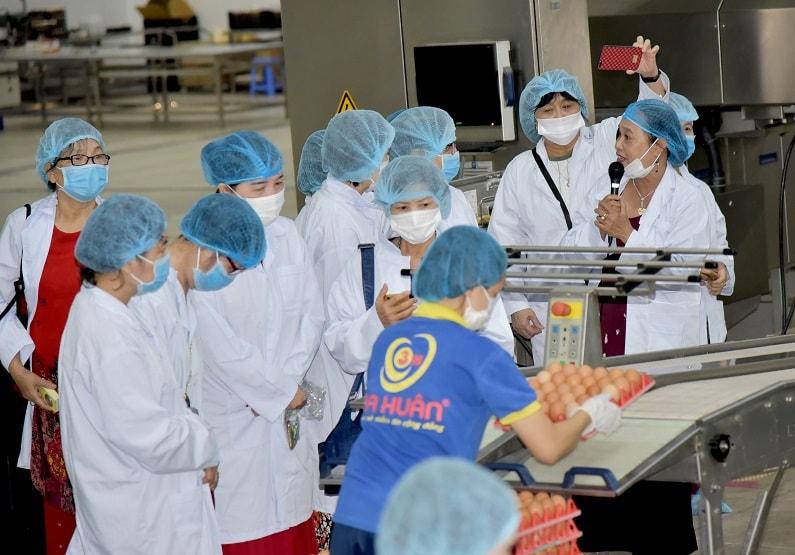 các nhà văn tham quan dây chuyền sản xuất trứng sạch Ba Huân