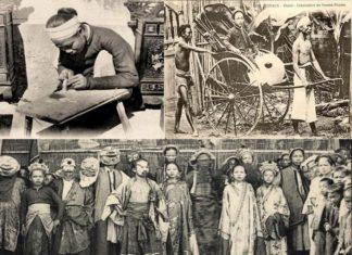 Ảnh hiếm về nghề xẻ gỗ, cắt tóc của người Việt xưa
