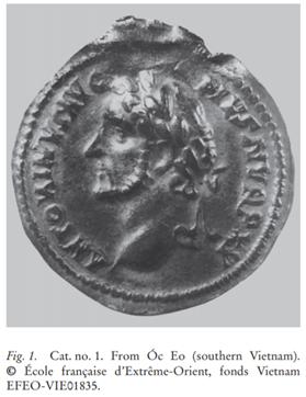 Đồng tiền La Mã có dập nổi dòng chữ ANTONINVS AVG PIVS được tìm thấy ở Óc Eo, hiện được lưu giữ tại Viện Viễn Đông Bác cổ (Paris), ký hiệu EFEO-VIE01835