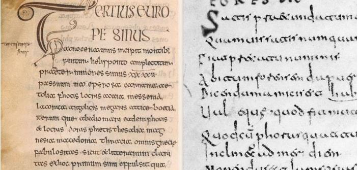 Trái: kiểu chữ Insular, Anh, thể kỷ thứ VIII; Phải: kiểu chữ Visigothic, ở Đức và Pháp, thế kỷ thứ IX