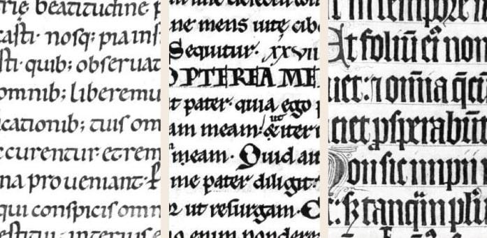 Bên trái: chữ Carolingian cũ, giữa năm 1033 và 1053, ở giữa: chữ Pregothic, giữa thế kỷ thứ 12, bên phải: chữ Gothic (Textualis Formata), giữa năm 1304 và 1321