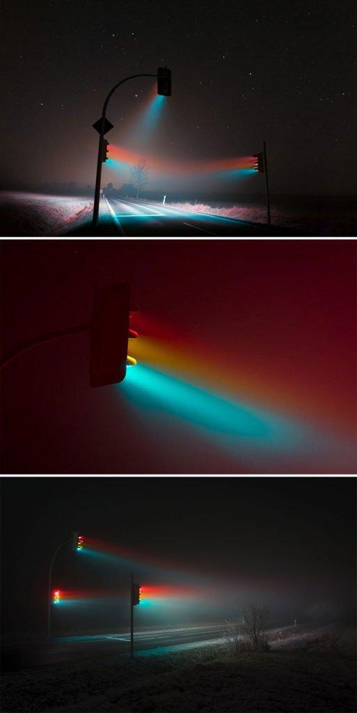 Ánh đèn đường đa sắc màu như đến từ hành tinh khác.