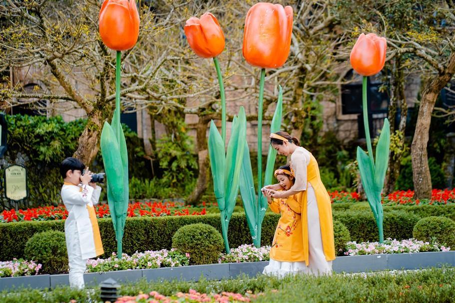 Khu vực vườn Nho trở thành background đầy ấn tượng cho du khách check in với đại cảnh những bông hoa tulip khổng lồ cùng thảm hoa tulip rực rỡ sắc màu và căng tràn nhựa sống.
