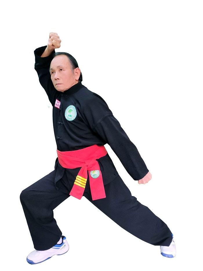 Đại võ sư Tấn Vương (môn phái Thiếu Lâm Tây Sơn) biểu diễn thế Lập bộ như tiền trong bài Kim ngưu quyền