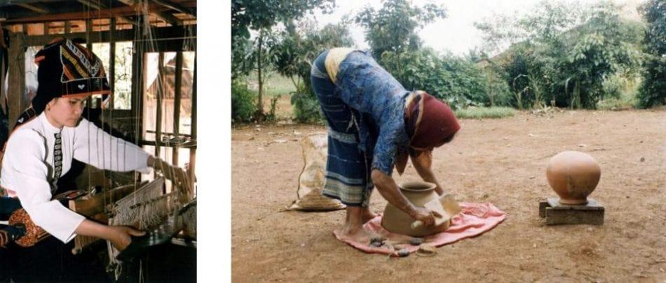 Nghề dệt vải thủ công có ở đa số các dân tộc. Phụ nữ là người trồng bông, trồng chàm, nuôi tằm, dệt vải và chăm lo may vá cho cả gia đình. Ngay từ nhỏ, các bé gái đã học dệt, may vá, thêu thùa từ bà, mẹ hay từ chị gái. Trước khi cưới, cô gái tự may y phục cho mình và làm nhiều đồ vải để tặng cho nhà chồng. Với phụ nữ Chu-ru ở Lâm Đồng và Chăm ở Bình Thuận, nghề làm gốm đất nung truyền thống không dùng bàn xoay vẫn được duy trì. Sản phẩm làm ra thường là những đồ gia dụng thiết yếu, đôi khi còn để bán tăng thêm thu nhập.