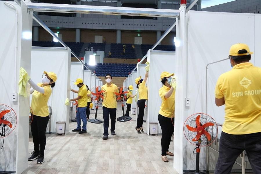 CBNV Sun Group tham gia thi công bệnh viện dã chiến