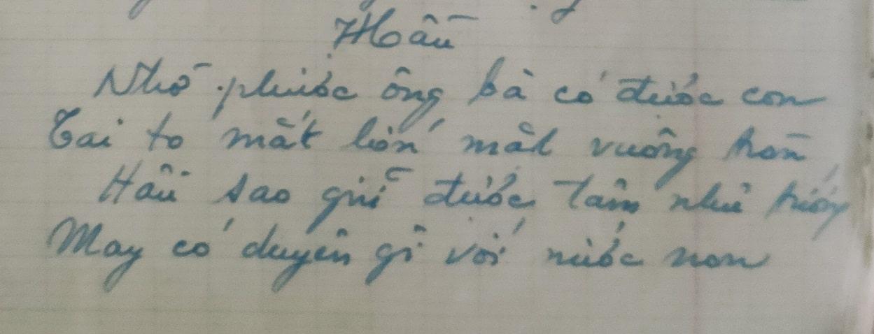H2. Bút tích của bà Phạm thị Lộc (chị ruột của Phạm Hầu) ghi lại bài thơ đặt tên con của TS. Phạm Liệu