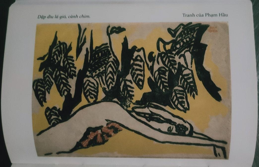 """Bức tranh minh họa """"Dập dìu lá gió, cánh chim"""" của Phạm Hầu trong tập văn họa kỷ niệm Nguyễn Du năm 1942"""