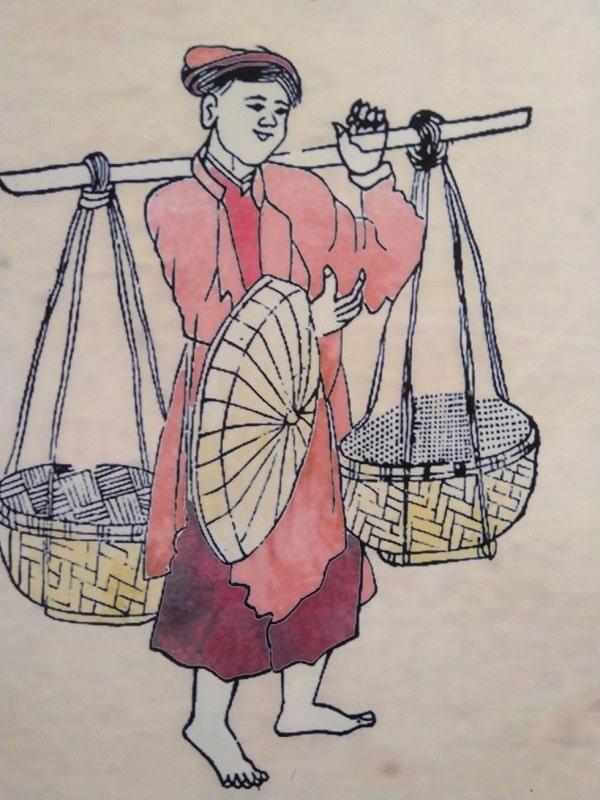 Gánh rượu nếp đi bán rong ở Thăng Long xưa trong ngày Tết Đoan Ngọ.